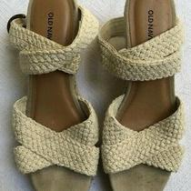 Old Navy Off White Woven Strap Espadrille Wedges Sz 8m Eeuc Photo