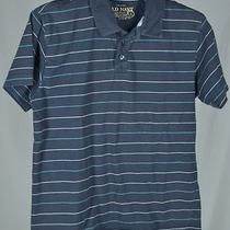 Old Navy Size L Navy Blue Aqua White Striped Collar Polo Shirt Short Sleeve Boy Photo
