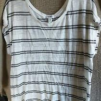 Old Navy Size Xl Burn Out Top Striped White Black Cap Sleeves Cotton Blend Photo