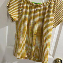 Old Navy Striped Top Knit Flutter Short Sleeve Top for Girls Photo