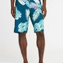 Old Navy Swim Board Shorts 38  Teal Palm Fronds Flex 10