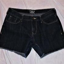 Old Navy Sz 8 Flirt Dark Wash Denim Jean Shorts Fringe Hem Comfy Cotton Blend Ec Photo