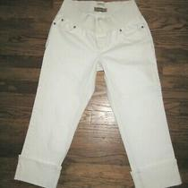 Old Navy Sz Sm Ivory Denim Maternity Jeans Pants Cropped Capri's Wide Hem Nwot Photo