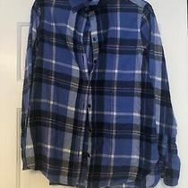 Old Navy the Favorite Shirt Flannel Womens Blue Pink and White Medium Photo