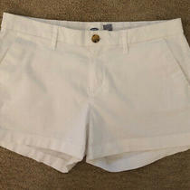 Old Navy White Shorts Ladies' Size 4 3 Inseam Flat Front Photo