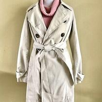 Old Navy Women Beige Double Breasted Long Trench Coat Jacket Cotton Size Xsmall Photo