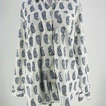 Old Navy Women's Cotton White Paisley Button Down Long Sleeve Shirt Size Small Photo