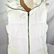 Old Navy Women's White Puffer Vest Fleece Lined Pockets Collar Size Medium Photo