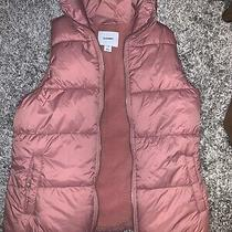 Old Navy Women's Xs Blush Pretty Pink Puffer Vest With Pockets Zip & Snap Euc Photo