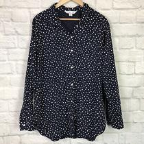 Old Navy Women's Xxl Button-Front Shirt Polka Dot Navy Blue Long Sleeve Top Photo