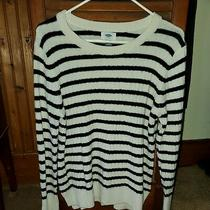Old Navy Women Size Large Black & White Striped Long Sleeve Sweater Nwt Photo