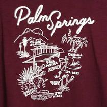 Old Navy Womens Burgundy Palm Springs Graphic Cotton T-Shirt Short Sleeve Sz Xl Photo