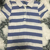 Old Navy Womens Large Blue & White Striped Polo Tee Long Length Cute Photo