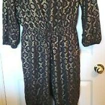 Old Navy Womens Size Xl Black Gold  Floral Print Rayon Jumpsuit Drawstring Waist Photo
