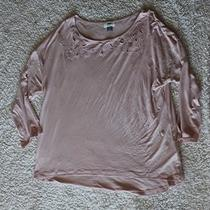 Old Navy Womens Sz L Long Sleeve Blush Floral Spring Top Blouse Euc Photo