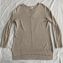 Old Navy Womens Thin Tunic Sweater Size L v Neck Cream Long Sleeve Sweater Photo