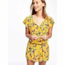 Old Navy Yellow Floral Print Cinched Waist Romper Women's Plus Size Xxl Photo