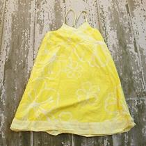 Old Navy Yellow White Floral Print Poplin Knit Wrap Front Summer Dress M 8 Photo