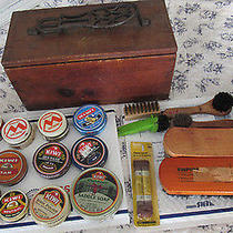 Old Vtg Antique Cast Iron Foot Stand Brush Shoe Shine Kit W/extra Cast Foot Lot  Photo