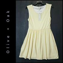 Olive and Oak Womens Sleeveless Fit & Flare Stripe Dress Size Medium Yellow Photo