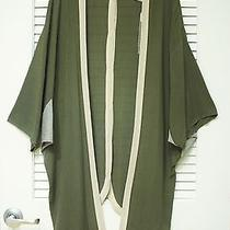 Olive Contr Band & Back Buttons Kimono Cardigan O/s W/ Anthropologie Earrings Photo