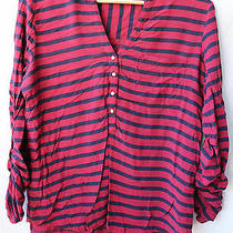 Olive & Oak Small Rayon Red and Black Striped Half Buttoned Blouse Photo
