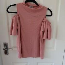 Oliver Bonas Blush Pink Cold Shoulder T Shirt Blouse Size 8 Photo
