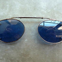 Oliver Peoples Rossi Silver With Blue Lens Clip on Oval Sunglasses Spring Hinged Photo