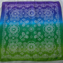Ombre Aqua Tie Dye Bandana Square Neck Head Wrap Scarf Hippie Boho Festival Photo