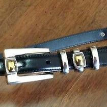 On Sale Brighton Black Leather Belt Silver Gold Buckle Conchos Medium Large 32 Photo