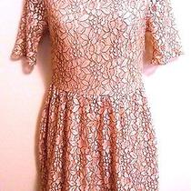 One Clothing Dress Boho Vintage Blush Lace Outlined With Black Sm Short Sleeves  Photo