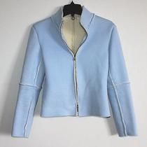 One Girl Who... Anthropologie - S - Baby Blue Micro-Suede - Sherpa Lined Jacket Photo