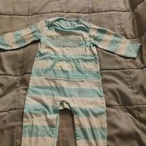 One Piece Long Sleeves Romper Blue and White Baby Gap 12-18 Months Photo