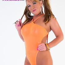 One Size Exotic Pole Dancer/stripper Neon Orange Monokini Bikini by Sexyfigure8 Photo