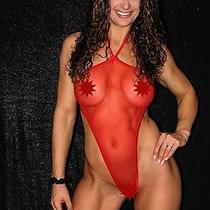 One Size Exotic Pole Dancer/stripper Solid Red Monokini Bikini by Sexyfigure8 Photo