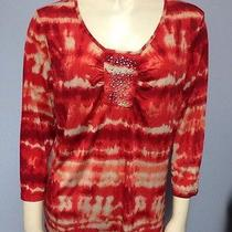 Onque Casuals Elements of Style Clothing Size Large Orange Tan Blouse Top Bling  Photo