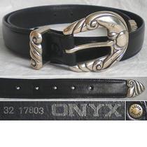Onyx by Brighton Belt Leather Silver Black Women's  32 Photo