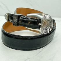 Onyx by Brighton Black Croc Embossed 3 Piece Leather Belt Size 28 Photo