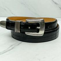 Onyx by Brighton Black Vintage 1993 Croc Embossed Leather 3 Piece Belt Size 38 Photo
