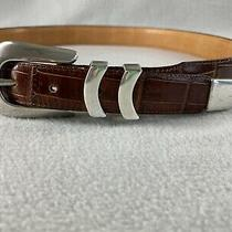 Onyx by Brighton Brown Leather Belt 19407 Croc Embossed Size 36 Width 1.25