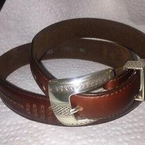 Onyx by Brighton Silver Buckle Brown Leather Belt 1993 36