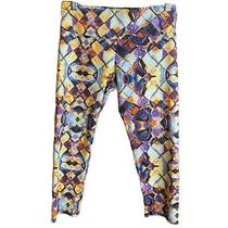 Onzie Womens Cropped Prism Patterned Active Leggings M/l Yellow Purple Blue Photo