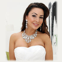 Ooak Handmade Bridal Crystal Swarovski Rhinestone Statement Necklace Jewelry Set Photo