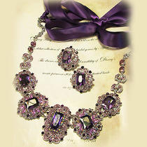 Ooak Handmade Purple Crystal Swarovski Rhinestone Statement Necklace Earrings Photo