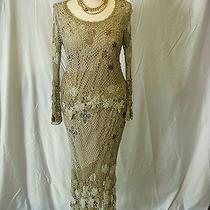 Ooooh My My Very Vera Wang 2 Piece Tan Beaded Floral Crochet Top Skirt M/l Photo