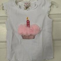 Oopsy Daisy Baby Girls White Top Birthday Cupcake Pink Candle Rosettes 2t 24 New Photo