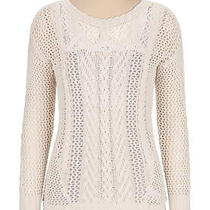 Open Stitch Pullover Sweater With Lace Photo