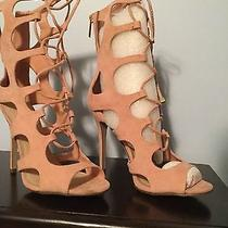 Open Toe Blush Color Boot Lace Up Size 9 Photo