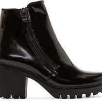 Opening Ceremony Black Grunge Ankle Booties With Double Zippers Size 8 Photo