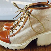 Opening Ceremony Patent Leather & Canvas Grunge Sneakers (Size 40) Photo
